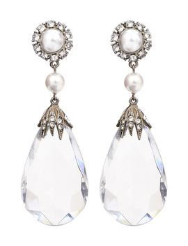 Imitation Pearl & Crystal Clip Earrings by Ben Amun