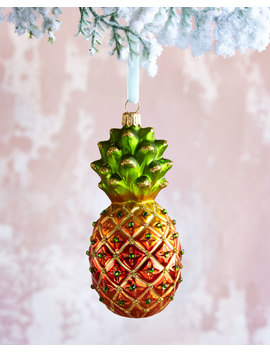 Pineapple Glass Christmas Ornament by Neiman Marcus