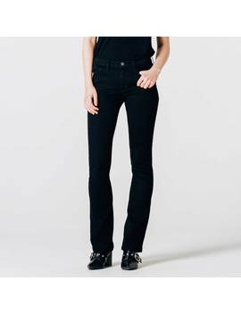 Womens Mid Rise Skinny Flare Jeans In Black by Dstld