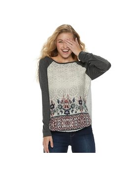 Juniors' Rewind Knit To Woven Long Sleeve Tee by Kohl's