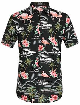 Sslr Men's Flamingos Casual Short Sleeve Aloha Hawaiian Shirt by Sslr