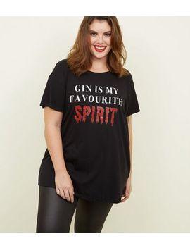 Curves Black Halloween Spirit Slogan T Shirt by New Look