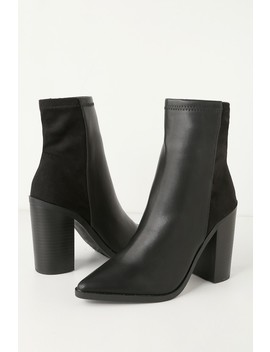 Essex Black Mid Calf Booties by Lulu's