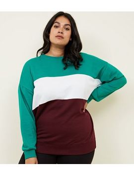 Curves Green Colour Block Sweatshirt by New Look