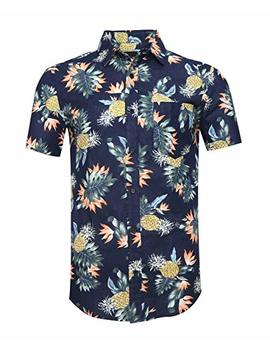 Avanzada Men's Short Sleeve Standard Fit 100 Percents Cotton Button Down Casual Pineapple Hawaiian Shirt by Avanzada