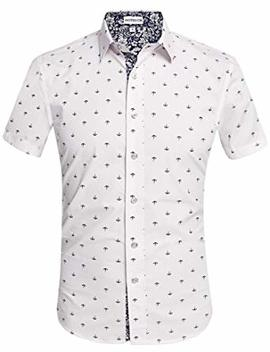 Hotouch Mens Slim Fit Fashion Short Sleeve Print Button Down Casual Shirts by Hotouch