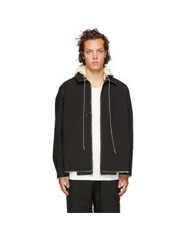 Black Hooded Simple Jacket by Camiel Fortgens