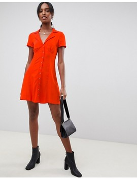 Asos Design Tall Button Through Mini Skater Dress by Asos Design