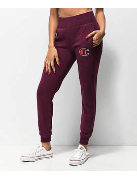 Champion Reverse Weave Big C Dark Berry Jogger Sweatpants by Champion