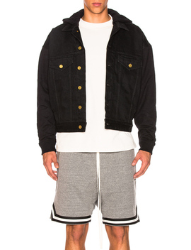 Hooded Trucker Jacket With French Terry Sleeves by Fear Of God