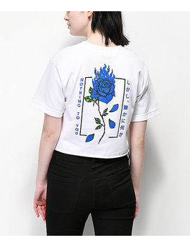 Empyre Burning Blue Rose White Crop T Shirt by Empyre