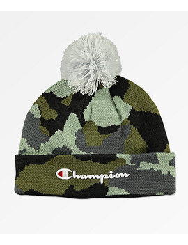 Champion Script Knit Pom Camo Beanie by Champion
