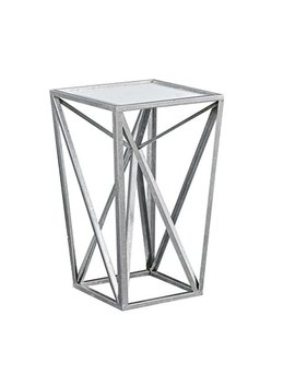 Madison Park Zee Silver Angular Mirror Accent Table Silver/Mirror See Below by Madison Park