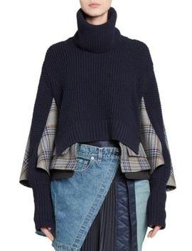 glen-check-knit-combo-sweater by sacai
