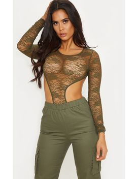 Khaki Long Sleeve Cut Out Body by Prettylittlething