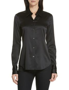Perfect Fit Stretch Silk Blouse by Theory