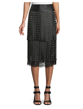Senna Studded Leather Fringe Midi Skirt by Alice + Olivia