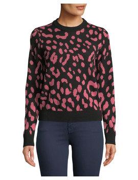 Chia Leopard Jacquard Crewneck Pullover by Alice + Olivia