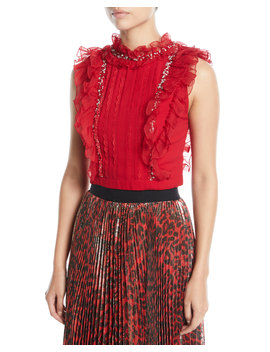 Gwen Embellished Cropped Pin Tuck Ruffle Blouse by Alice + Olivia