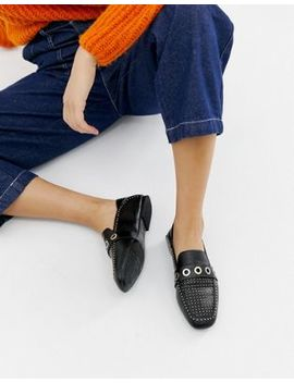Stradivarius Black Studded Slip On Loafers by Stradivarius