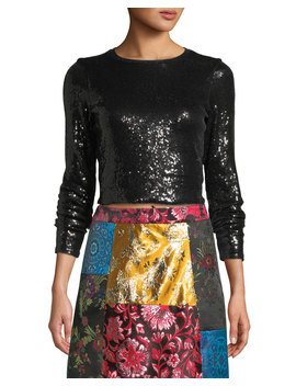Delaina Long Sleeve Sequined Top by Alice + Olivia
