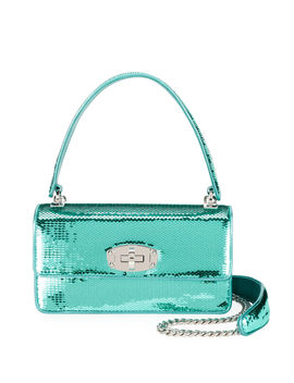Cleo Sequined Top Handle Shoulder Bag by Miu Miu