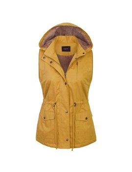 Kogmo Womens Fur Lined Anorak Safari Vest With Detachable Hoodie (S 3 X) by Kogmo