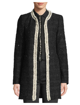 Andreas Collarless Boucle Jacket W/ Crystalized Embroidery by Alice + Olivia