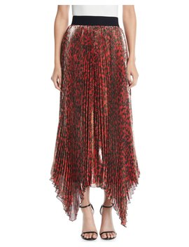 Katz Shimmery Leopard Pleated Maxi Skirt by Alice + Olivia
