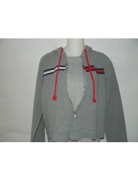 Vintage Tommy Hilfiger Hoodie Unisex Sweatshirt Gray Blue Red Zip Up Sz X Small by Tommy Hilfiger