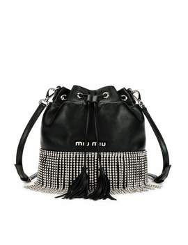 Small Crystal Fringe Napa Drawstring Bucket Bag by Miu Miu