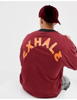 Collusion Long Sleeve T Shirt In Burgundy With Back Print by Collusion
