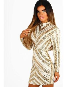 Life Of The Party Gold And Nude Sequin Long Sleeve Mini Dress by Pink Boutique