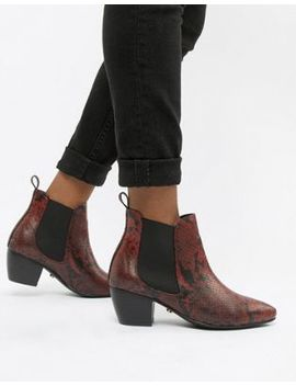 Oasis Heeled Chelsea Boots In Red Animal Print by Oasis