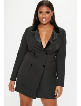 Plus Size Black Velvet Tux Dress by Missguided