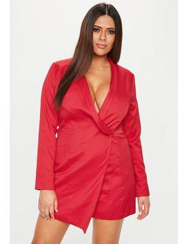 Plus Size Red Blazer Dress by Missguided