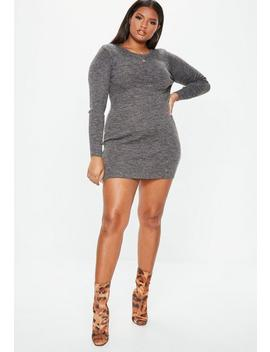 Plus Size Dark Grey Scoop Neck Ribbed Sweater Dress by Missguided