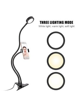 Tbest Phone Holder With Light, Selfie Light For Phone Holder,Flexible Desktop Phone Stand Holder With Ring Light For Live Stream Makeup Selfie by Tbest