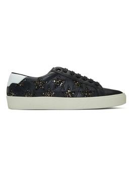 Black Glitter Stars Court Classic Sneakers by Saint Laurent