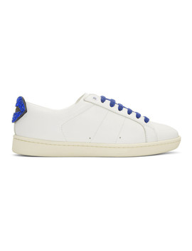 White Glitter Lips Court Classic Sneakers by Saint Laurent