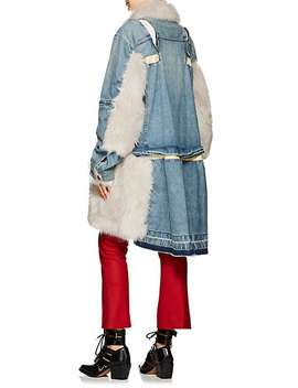 Faux Fur Trimmed Denim Coat by Sacai