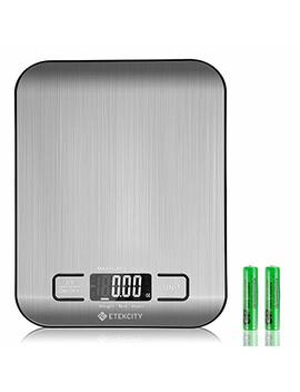 Etekcity Upgraded Digital Kitchen Food Scale Multifunction Small Scale, Back Lit Lcd Display, 0.04oz/1g Increment, 11 Lb 5 Kg, Food Grade 304 Stainless Steel (Batteries Included) by Etekcity