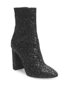 Lou Glitter Zip Up Ankle Boots by Saint Laurent