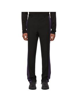 Black & Purple Wool Band Trousers by Lanvin