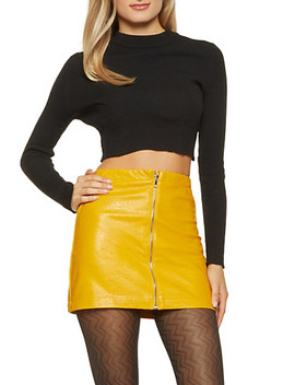 Faux Leather Zip Mini Skirt by Rainbow