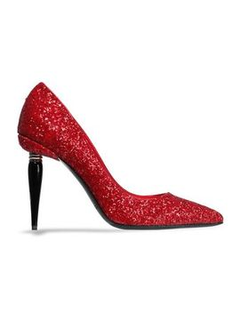 Glittered Leather Pumps by Oscar De La Renta