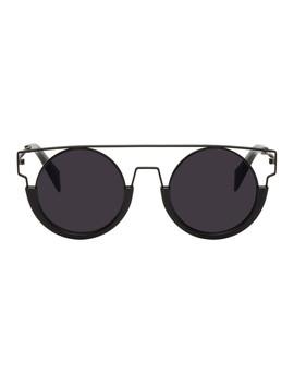 Black Round Wire Frame Sunglasses by Yohji Yamamoto