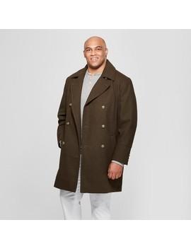 Men's Big & Tall Wool Blend Trench Coat   Goodfellow & Co™ Dark Green by Goodfellow & Co™