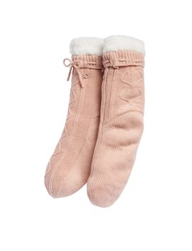 Lc Lauren Conrad Sweater Knit Heart Cable Slipper Socks by Kohl's