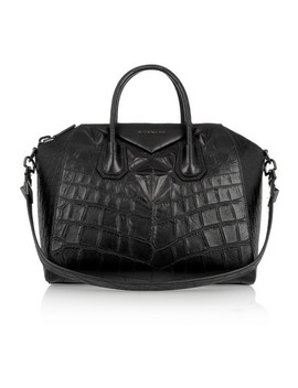 Medium Antigona Bag In Black Crocodile Style Leather by Givenchy